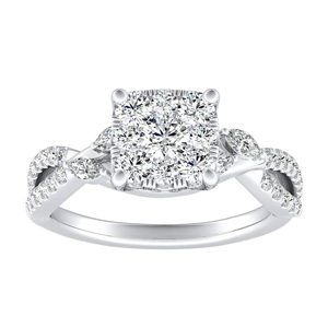 MEADOW Diamond Engagement Ring In 14K White Gold With Cushion Diamond In H-I SI1-SI2 Quality