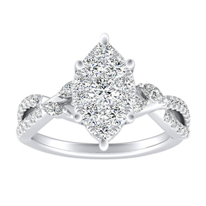 MEADOW Diamond Engagement Ring In 14K White Gold With Marquise Diamond In H-I SI1-SI2 Quality