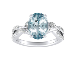 MEADOW Aquamarine Engagement Ring In 14K White Gold With 3.00 Carat Oval Stone