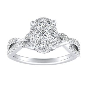 MEADOW Diamond Engagement Ring In 14K White Gold With Oval Diamond In H-I SI1-SI2 Quality