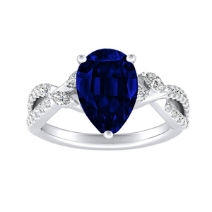 MEADOW  Blue  Sapphire  Engagement  Ring  In  14K  White  Gold  With  0.50  Carat  Pear  Stone