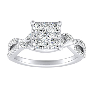MEADOW Diamond Engagement Ring In 14K White Gold With Princess Diamond In H-I SI1-SI2 Quality