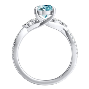 MEADOW  Aquamarine  Engagement  Ring  In  14K  White  Gold  With  1.00  Carat  Round  Stone
