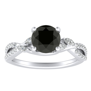MEADOW  Black  Diamond  Engagement  Ring  In  14K  White  Gold  With  1.00  Carat  Round  Diamond