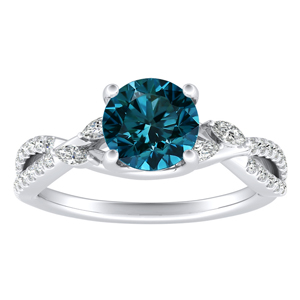 MEADOW  Blue  Diamond  Engagement  Ring  In  14K  White  Gold  With  0.50  Carat  Round  Diamond