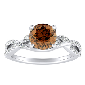 MEADOW Brown Diamond Engagement Ring In 14K White Gold With 0.30 Carat Round Diamond