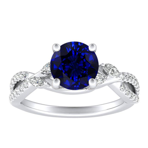 MEADOW  Blue  Sapphire  Engagement  Ring  In  14K  White  Gold  With  0.50  Carat  Round  Stone