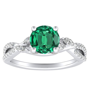 MEADOW  Green  Emerald  Engagement  Ring  In  14K  White  Gold  With  0.50  Carat  Round  Stone