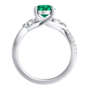 MEADOW  Green  Emerald  Engagement  Ring  In  14K  White  Gold  With  0.50  Carat  Emerald  Stone