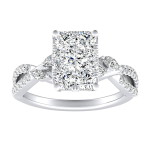 MEADOW Diamond Engagement Ring In 14K White Gold With Radiant Diamond In H-I SI1-SI2 Quality