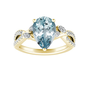 MEADOW  Aquamarine  Engagement  Ring  In  14K  Yellow  Gold  With  1.00  Carat  Pear  Stone