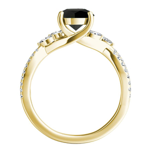 MEADOW  Black  Diamond  Engagement  Ring  In  14K  Yellow  Gold  With  1.00  Carat  Princess  Diamond