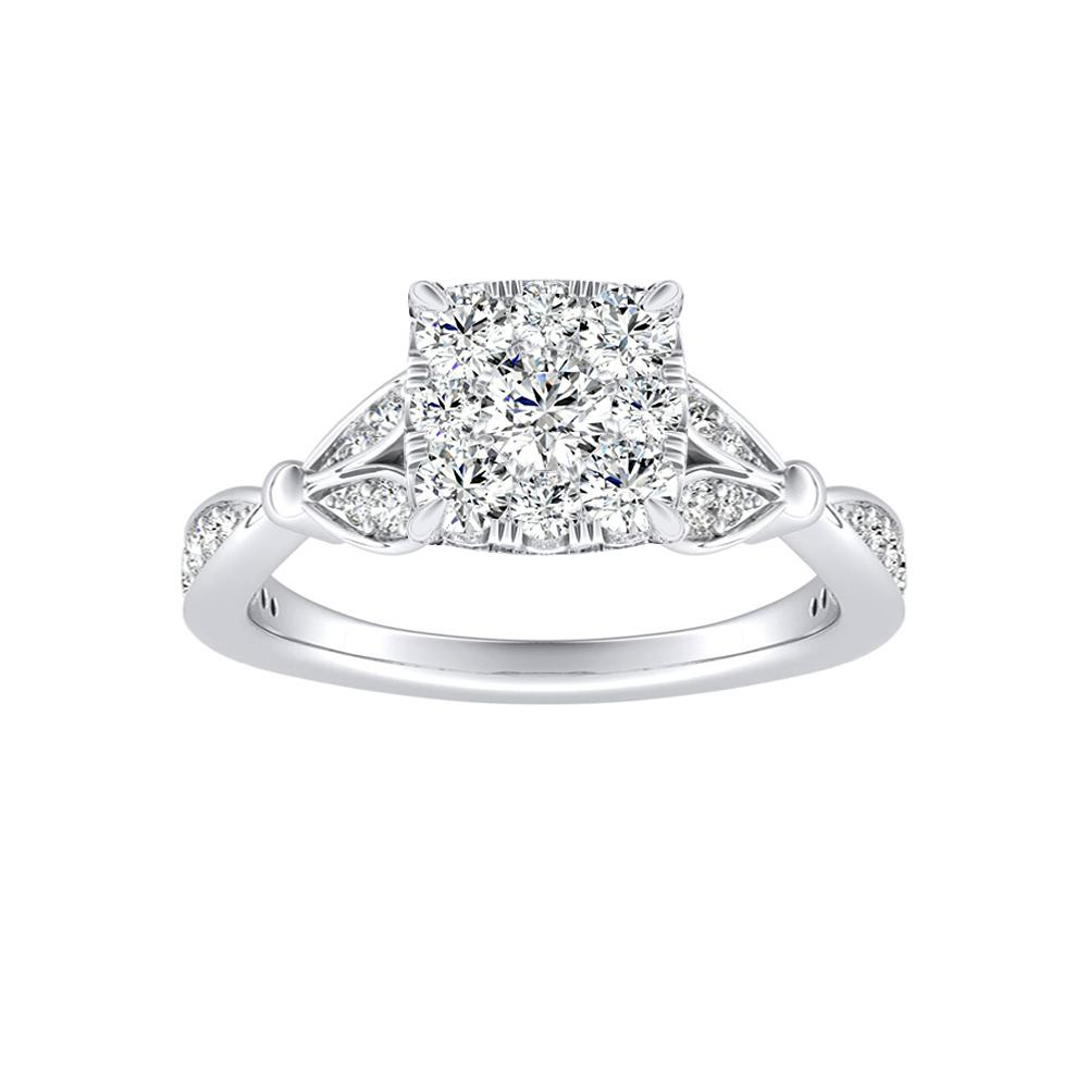 FLEUR Diamond Engagement Ring  In 14K White Gold With Cushion Diamond In H-I SI1-SI2 Quality