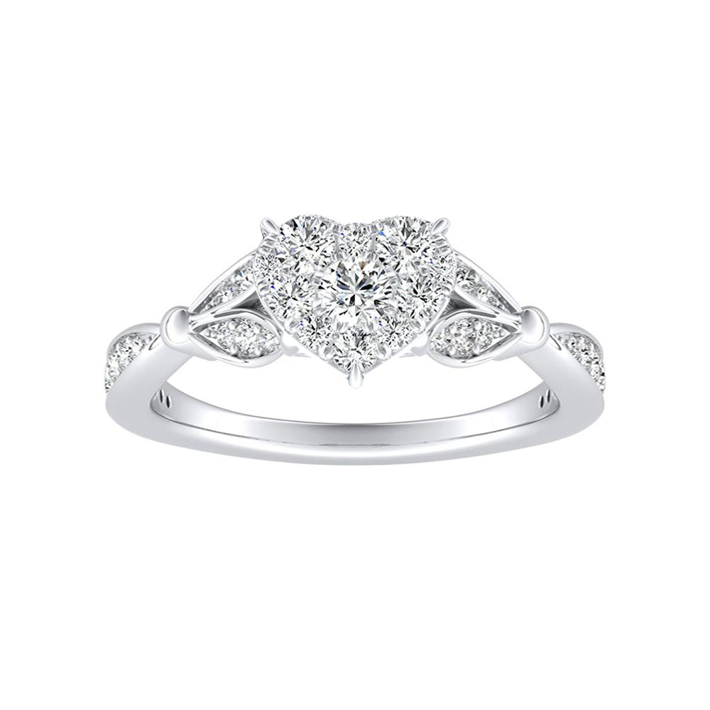 FLEUR Diamond Engagement Ring  In 14K White Gold With Heart Diamond In H-I SI1-SI2 Quality