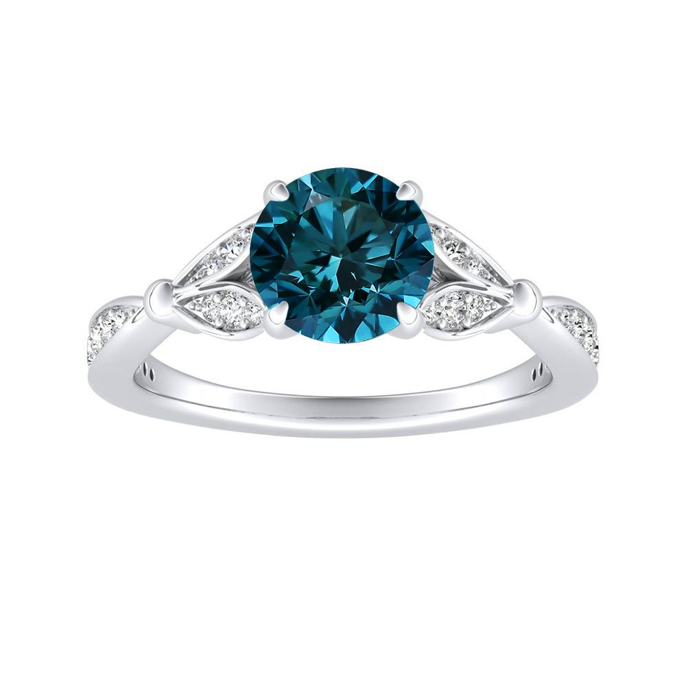 FLEUR Blue Diamond Engagement Ring In 14K White Gold With 0.50 Carat Round Diamond