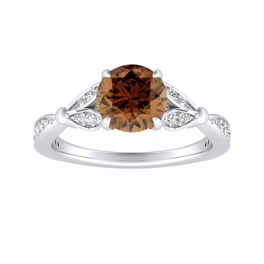 FLEUR Brown Diamond Engagement Ring In 14K White Gold With 0.50 Carat Round Diamond