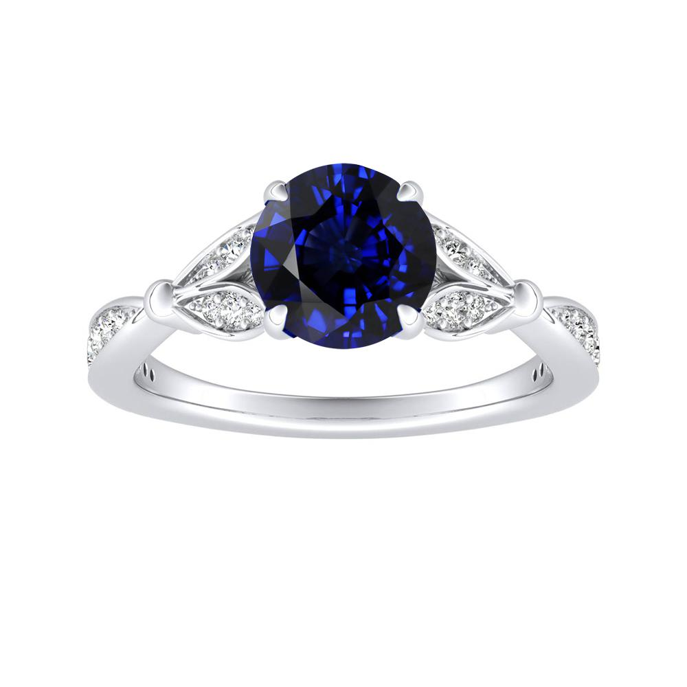 FLEUR Blue Sapphire Engagement Ring In 14K White Gold With 0.30 Carat Round Stone