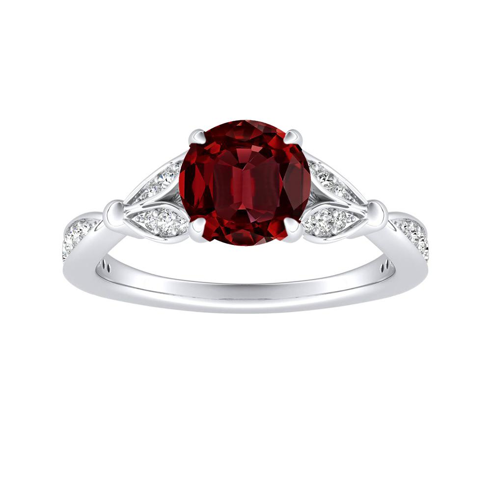 FLEUR Ruby Engagement Ring In 14K White Gold With 0.50 Carat Round Stone