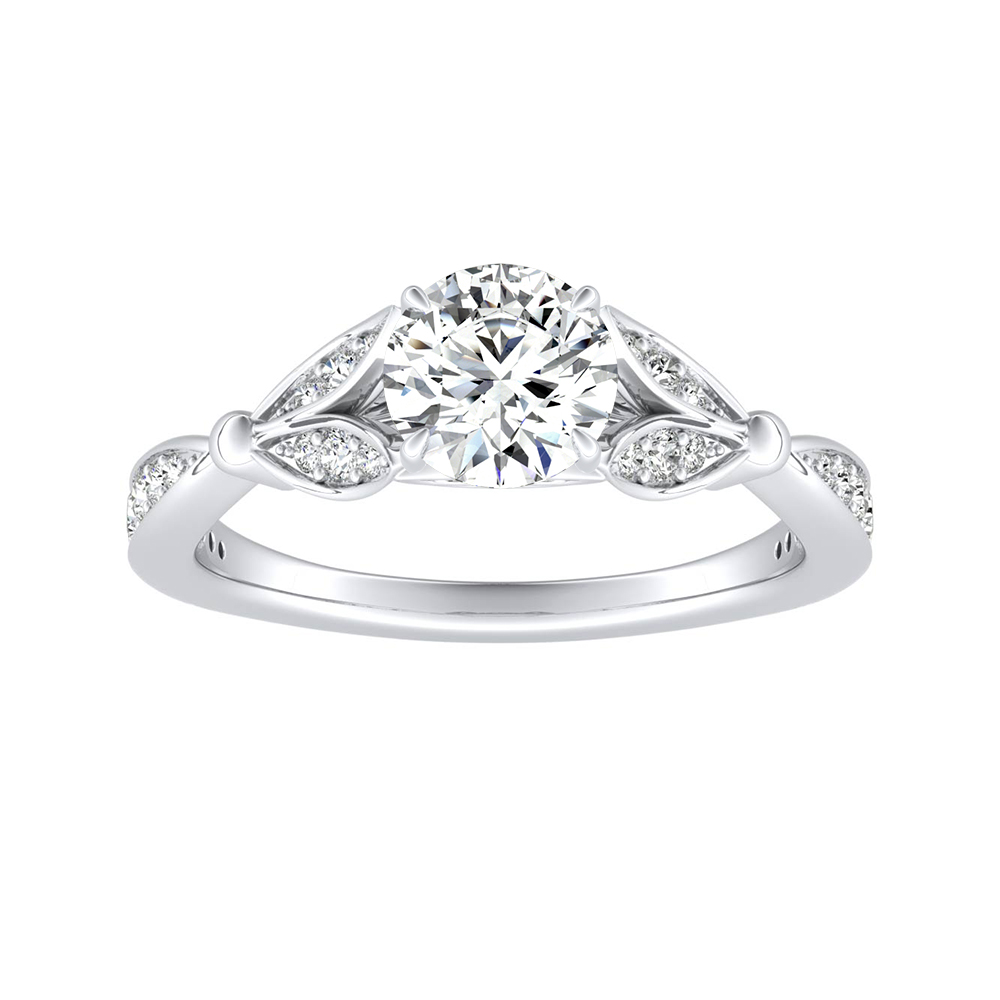 FLEUR Moissanite Engagement Ring In 14K White Gold With 0.50 Carat Round Stone