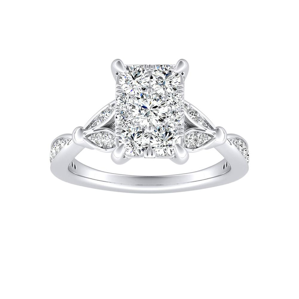 FLEUR Diamond Engagement Ring  In 14K White Gold With Radiant Diamond In H-I SI1-SI2 Quality
