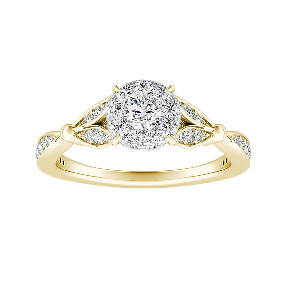 FLEUR Diamond Engagement Ring  In 14K Yellow Gold With Round Diamond In H-I SI1-SI2 Quality