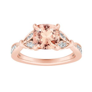 FLEUR  Morganite  Engagement  Ring  In  14K  Rose  Gold  With  1.00  Carat  Cushion  Stone