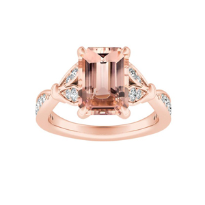 FLEUR Morganite Engagement Ring In 14K Rose Gold With 1.00 Carat Emerald Stone
