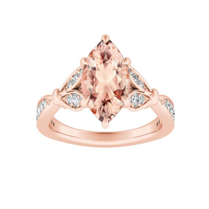 FLEUR Morganite Engagement Ring In 14K Rose Gold With 2.00 Carat Marquise Stone
