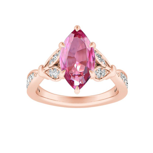 FLEUR  Pink  Sapphire  Engagement  Ring  In  14K  Rose  Gold  With  0.50  Carat  Marquise  Stone