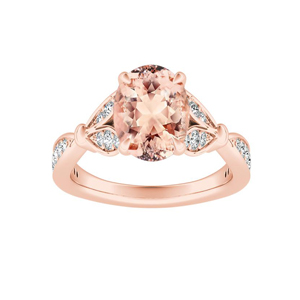 FLEUR Morganite Engagement Ring In 14K Rose Gold With 1.00 Carat Oval Stone