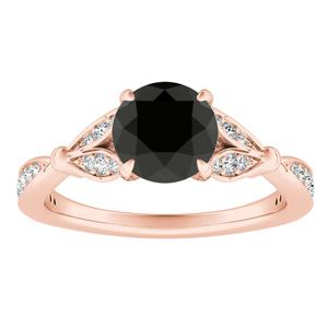 FLEUR Black Diamond Engagement Ring In 14K Rose Gold With 1.00 Carat Round Diamond