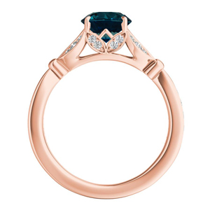 FLEUR  Blue  Diamond  Engagement  Ring  In  14K  Rose  Gold  With  0.50  Carat  Round  Diamond