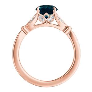 FLEUR  Blue  Diamond  Engagement  Ring  In  14K  Rose  Gold  With  0.50  Carat  Round  Diamond