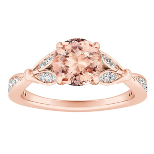 FLEUR Morganite Engagement Ring In 14K Rose Gold With 1.00 Carat Round Stone