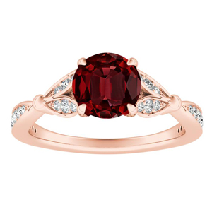 FLEUR Ruby Engagement Ring In 14K Rose Gold With 0.50 Carat Round Stone