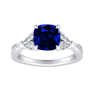 FLEUR Blue Sapphire Engagement Ring In 14K White Gold With 0.50 Carat Cushion Stone
