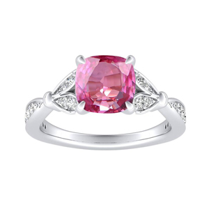 FLEUR  Pink  Sapphire  Engagement  Ring  In  14K  White  Gold  With  0.50  Carat  Cushion  Stone