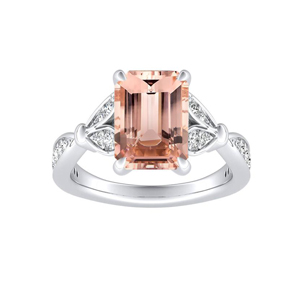 FLEUR Morganite Engagement Ring In 14K White Gold With 1.00 Carat Emerald Stone