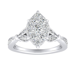 FLEUR Diamond Engagement Ring  In 14K White Gold With Marquise Diamond In H-I SI1-SI2 Quality