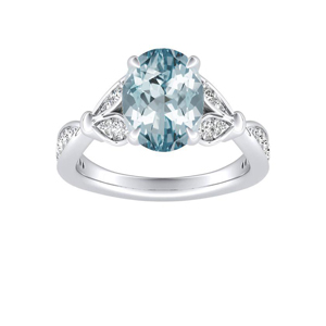 FLEUR Aquamarine Engagement Ring In 14K White Gold With 3.00 Carat Oval Stone