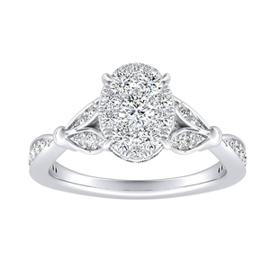 FLEUR Diamond Engagement Ring  In 14K White Gold With Oval Diamond In H-I SI1-SI2 Quality