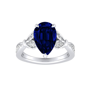 FLEUR  Blue  Sapphire  Engagement  Ring  In  14K  White  Gold  With  0.50  Carat  Pear  Stone