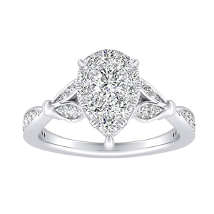 FLEUR Diamond Engagement Ring  In 14K White Gold With Pear Diamond In H-I SI1-SI2 Quality