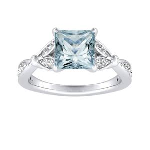 FLEUR  Aquamarine  Engagement  Ring  In  14K  White  Gold  With  1.00  Carat  Princess  Stone