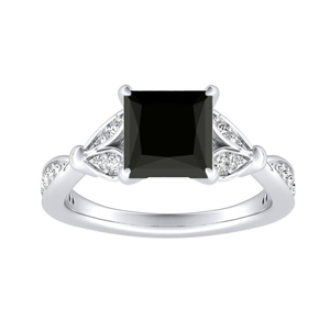 FLEUR  Black  Diamond  Engagement  Ring  In  14K  White  Gold  With  1.00  Carat  Princess  Diamond