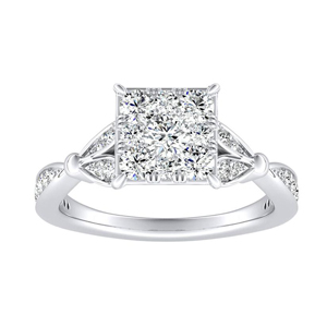 FLEUR Diamond Engagement Ring  In 14K White Gold With Princess Diamond In H-I SI1-SI2 Quality