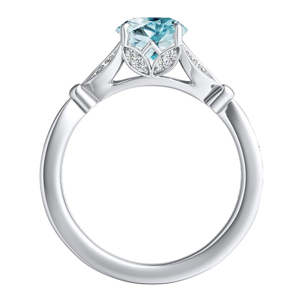 FLEUR  Aquamarine  Engagement  Ring  In  14K  White  Gold  With  1.00  Carat  Round  Stone