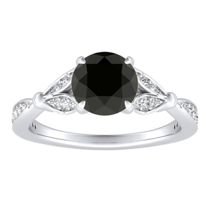 FLEUR Black Diamond Engagement Ring In 14K White Gold With 0.50 Carat Round Diamond
