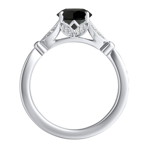 FLEUR  Black  Diamond  Engagement  Ring  In  14K  White  Gold  With  1.00  Carat  Round  Diamond