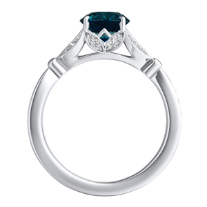 FLEUR  Blue  Diamond  Engagement  Ring  In  14K  White  Gold  With  0.50  Carat  Round  Diamond